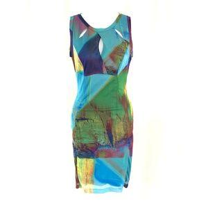 Elana Kattan Dress Bodycon Colorful Keyhole Sheath